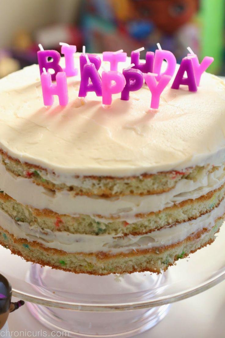 Naked funfetti cake