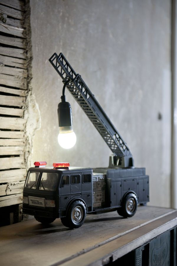 New lamp for B's room... finally something to do with all of those fire trucks!