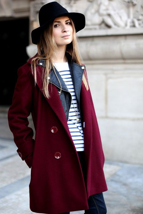 Striped shirt + leather biker jacket + wool pea coat = key to Parisian chic.    Photo: Courtney D'Alesio    3 of my favorite things in one outfit. My god.