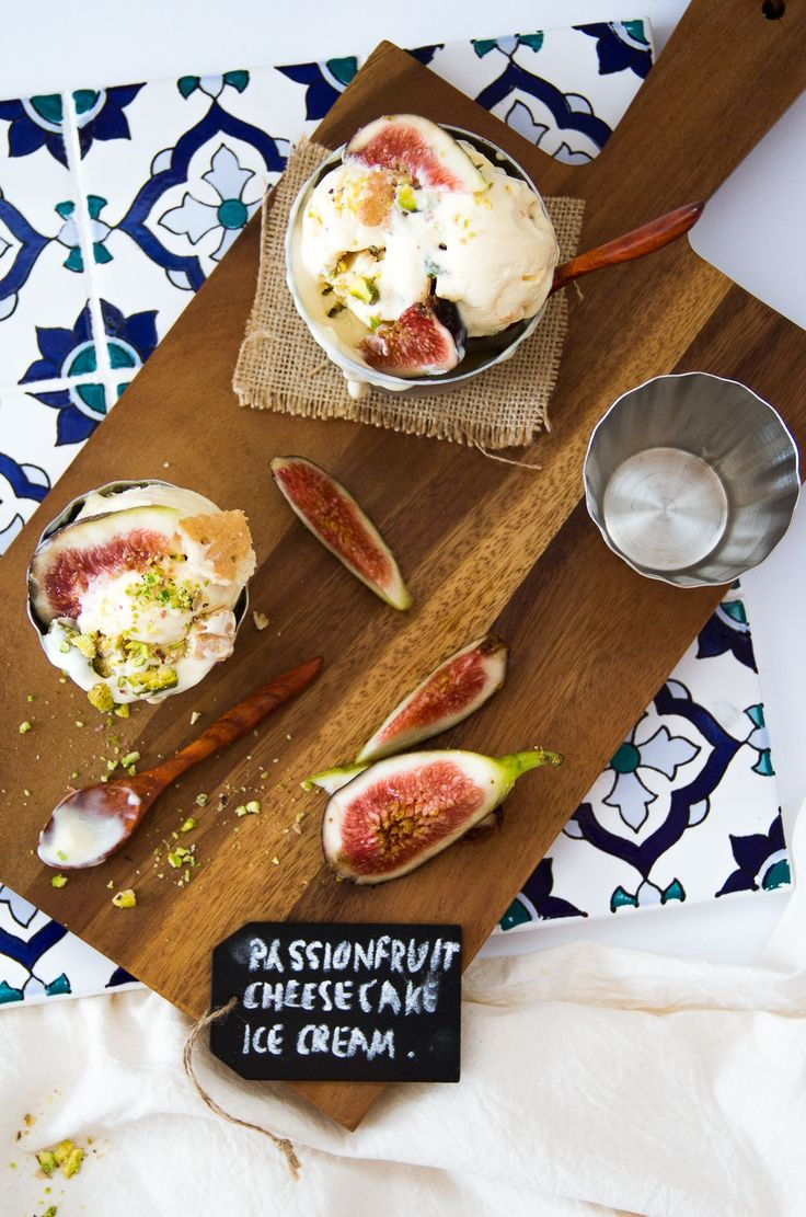 Passionfruit Cheesecake Ice Cream Makes about 1.5L ice cream •250g cream cheese, softened •300ml evaporated milk, chilled overnight and frozen 30 minutes before starting, then whipped to soft peaks •1/2 cup condensed milk, or more to taste •3/4 cup smooth passionfruit curd •crushed biscuits, pistachios 1. Beat cream cheese until smooth. Pour whipped evaporated milk into cream cheese and mix on low speed until well combined. Add in condensed milk, mix well, add passionfruit curd, mix well.