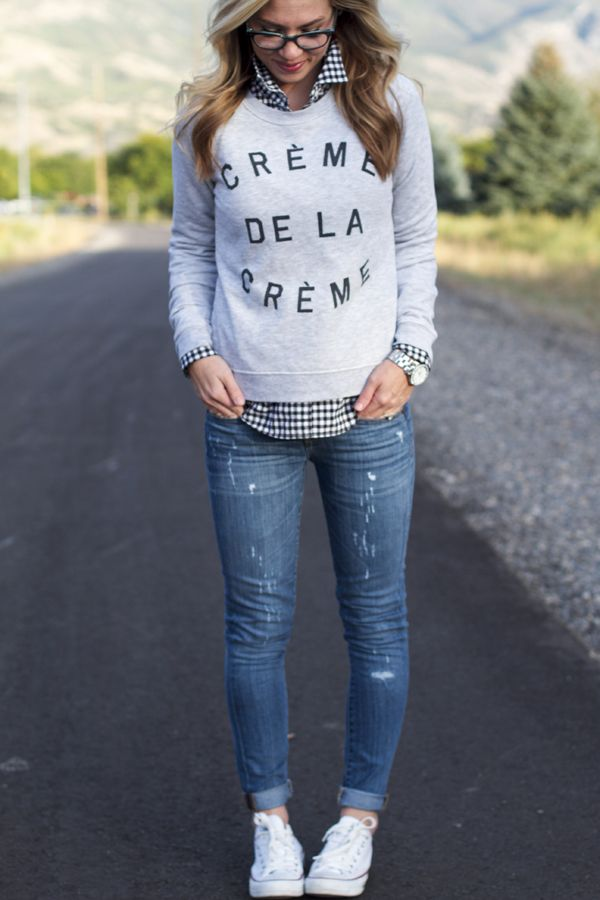 Fall fashion, converse, graphic sweatshirt, JCrew. our happiness tour