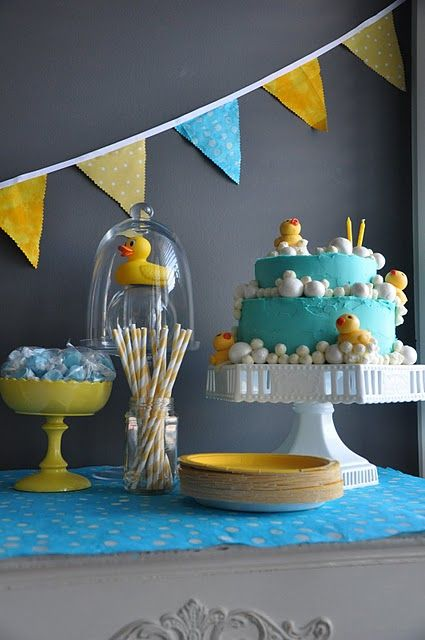 Rubbery Ducky, you're the one! #rubber #duck #ducky #baby #shower #birthday #party #buffet #cake #dessert #candy