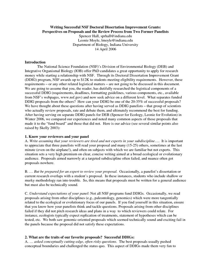 Nsf Grant Proposal Template  nsf proposal writing  business