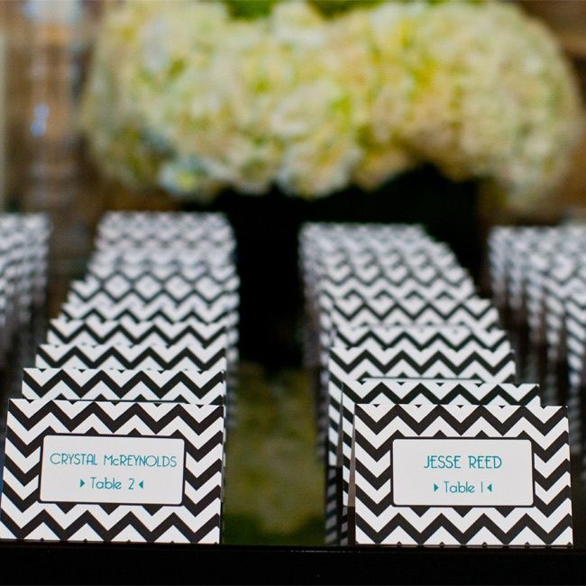black, white, and blue chevron escort cards