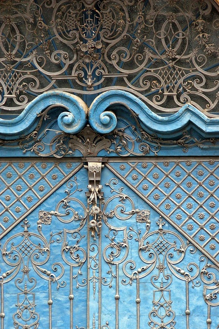 Ornate blue door, Wroclaw,Poland
