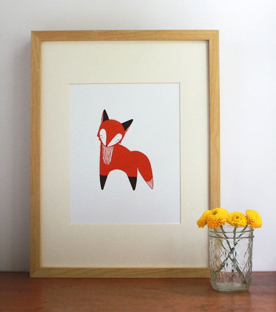 October Little Fox Illustration, Fox Art Print, Nursery Art, Children Decor, Fox Art, Orange Fox Art. $20.00, via Etsy.
