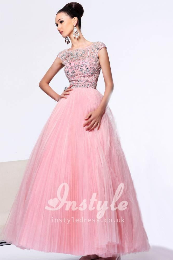 Oh my word, oh my word, oh my word - I REALLY want this dress!! http://www.instyledress.co.uk/uploads/product/1/2/12020/pink-beaded-ball-gown-with-cap-sleeves-2.jpg