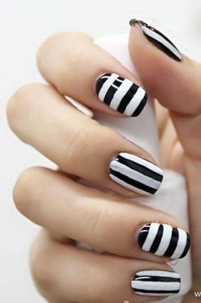 gorgeous black and white nail polish stripes