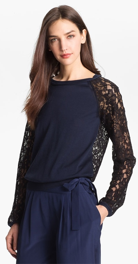 Diane von Furstenberg 'Avani' Mixed Media Top