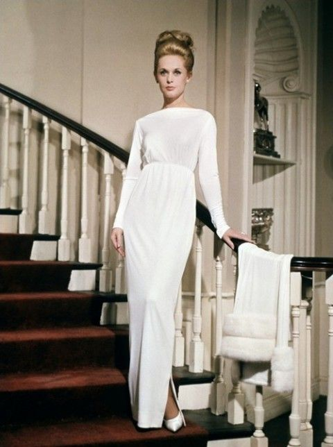 Tippi Hedren is an actress who Alfred Hitchcock made famous by casting her in The Birds and Marnie. This is 60's style.