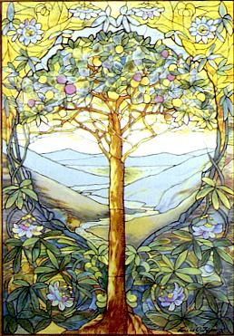 The tree of life, stained glass by Louis Comfort Tiffany