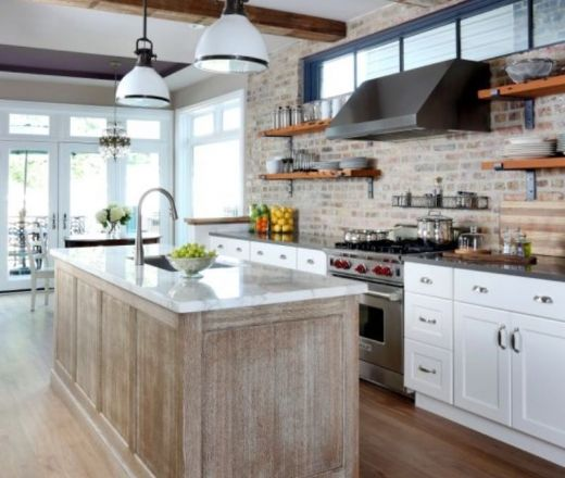 Transitional Island Style Peach kitchen, white cabinets, Normandy Designer Kathryn O'Donovan, Chicago