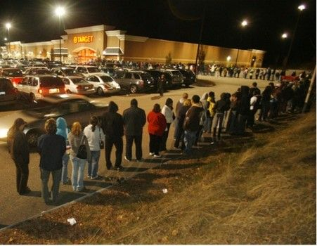 Black Friday lines wrap around buildings.