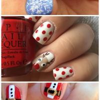 Polka Dot and Reindeer Christmas Nails