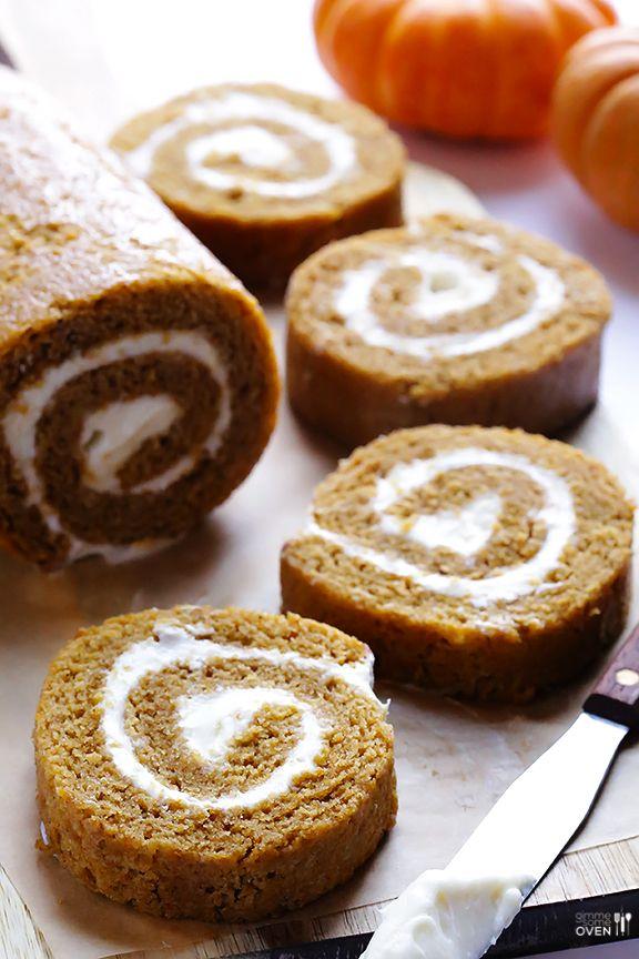 Pumpkin Roll Recipe  http://www.gimmesomeoven.com/pumpkin-roll-recipe/#_a5y_p=1026551
