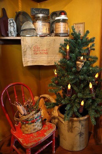 Primitive Christmas Decorating Ideas   Elitflat Primitive Christmas Christmas Decorating Ideas Pinterest