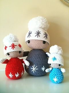 Winter Dolls , Baby Mo ( Small Sized Turquoise Doll, Measures Approx 12 cms tall) ~ Free PDF Pattern