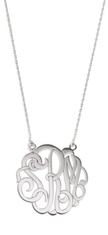 The looping, scrolling text of this monogram makes it a must-have for the ultra-feminine girl. Completely personalize this piece with custom metals, chain lengths and pendant sizes.