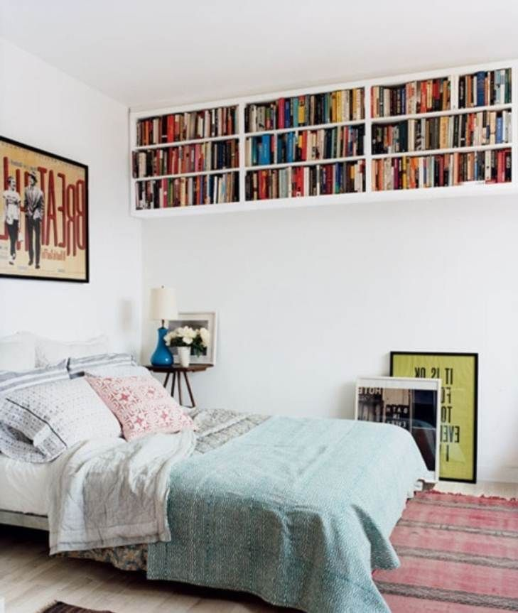 Use Shelves To Organizing Small Bedroom... If you don't have floor space, use your walls.