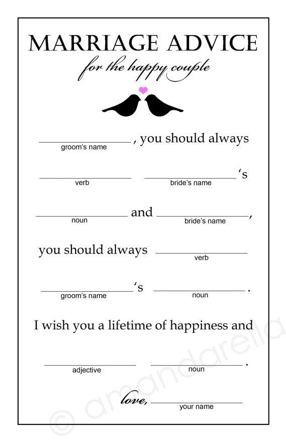 Marriage Advice Madlibs  Bridal Shower Game  by amandarellas, $15.00