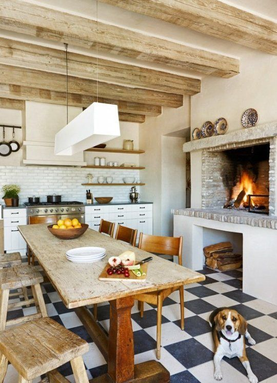 The Ultimate Cozy: Kitchen Fireplaces I'd love a fireplace in the kitchen, meat roasting on a spit!
