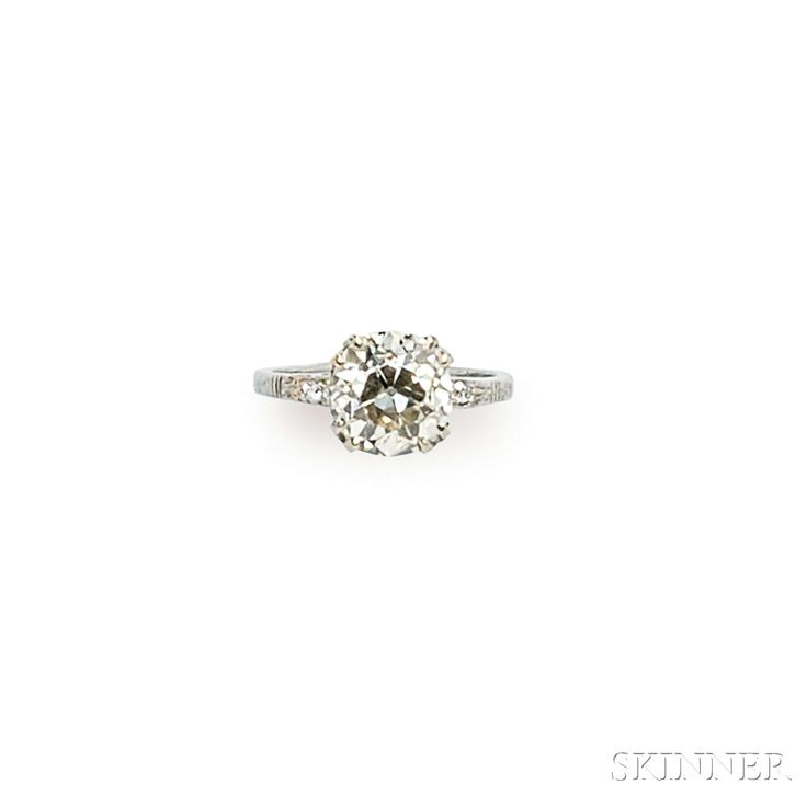 Art Deco Platinum and Diamond Solitaire | Sale Number 2746B, Lot Number 274 | Skinner Auctioneers