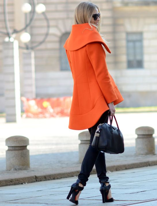 Orange coat + black skinnies