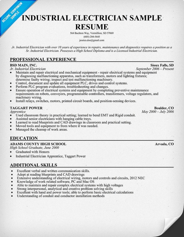 industrial electrician resume sample resume ideas pinterest
