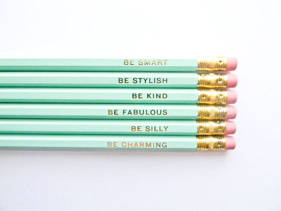 Mint & Gold 'Gentle Reminders' pencils by Amanda Catherine Designs