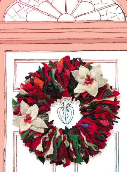 Wreath from Upcycled Sweaters