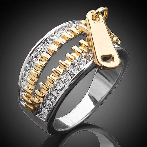 So fun!:  Sparkle Swarovski Crystal 18K GP Gold & Silver Two-tone Zipper
