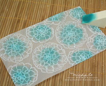 white emboss on vellum, sponge ink in center of flowers, adhere to aqua mist card base