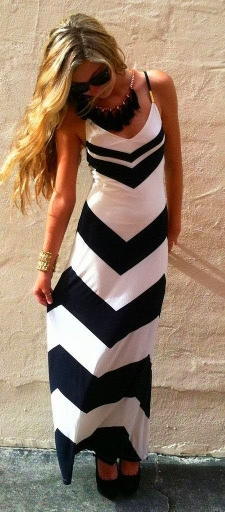 Blue & White Chevron Maxi Dress