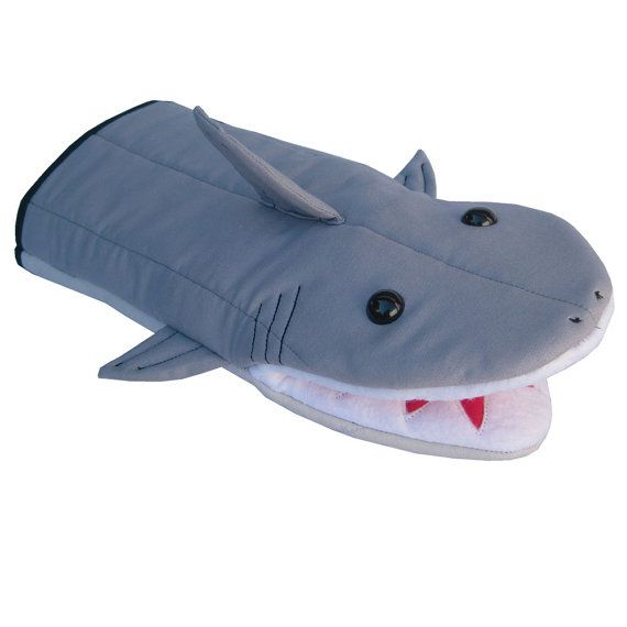 """""""Who is it?"""" """"Candygram...."""" Landshark! The cleverest species of them all! ; Shark Oven Mitt by collisionware on Etsy"""