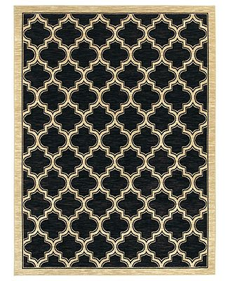"Shaw Living Area Rug, American Abstracts 01500 Milazzo Black 7'9"" x 10'3\"""