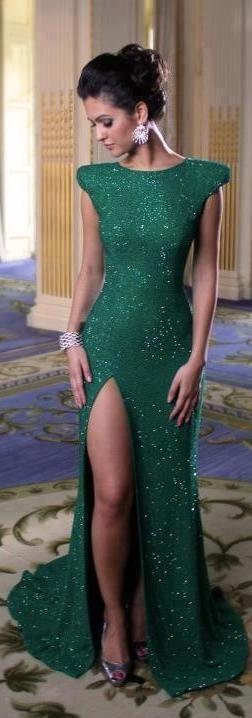 Pretty, emerald green. It's like the Jessica Rabbit dress...