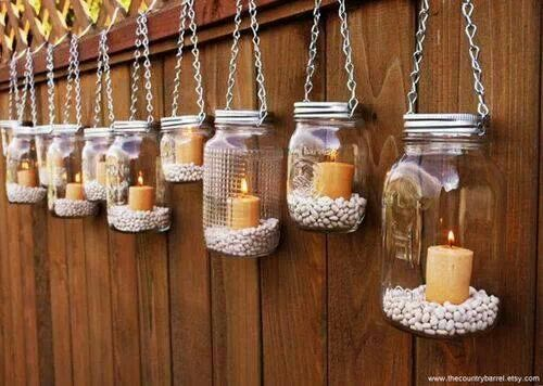 Empty containers can be used as hanging candle holders. May add colored/plain pebbles in it or use washi tapes to cover the outside part of the container.