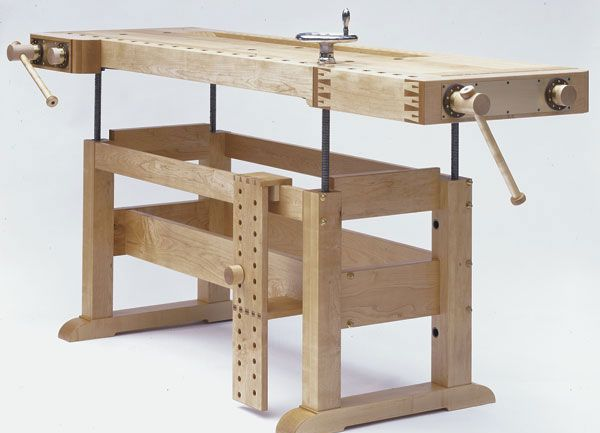 Adjustable height workbench.