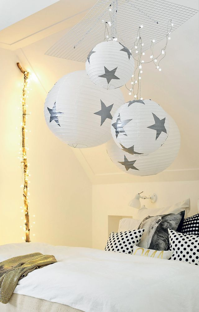 For Jesse's room, bought last week fabric with stars for his room. This would look great with it.(DIY Christmas lamp - Kerstbollen www.101woonideeen.nl)