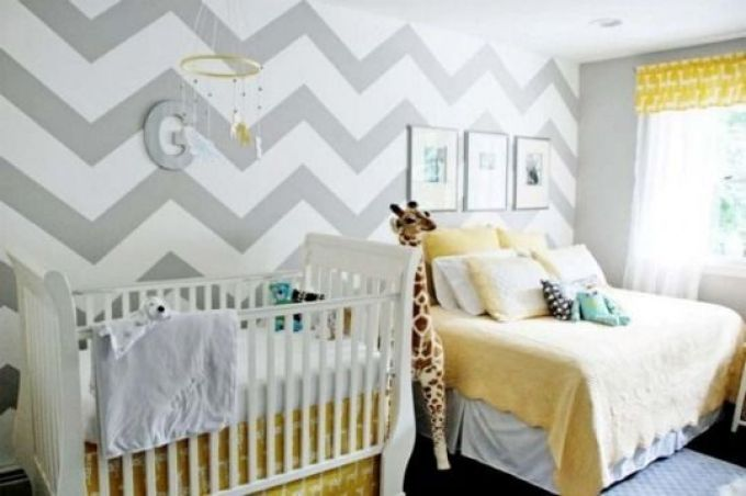 grey chevron painted walls