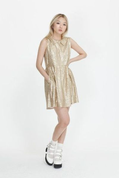 Sleeveless Spangle Dress Gold - THE WHITEPEPPER