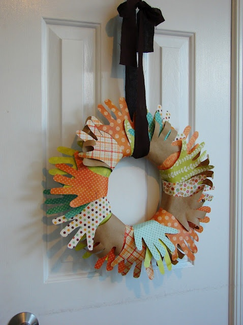 Turkey hand wreath.