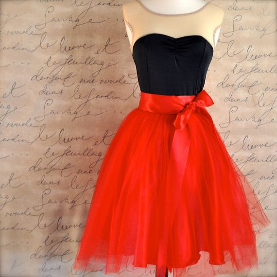 Valentine red tulle skirt tutu for women by TutusChicBoutique, $165.00