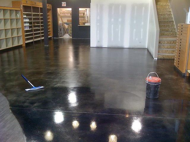 Black Painted Concrete Flooring
