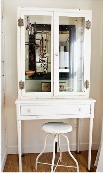 """Cupboard or frame for a jewelry """"cabinet"""" (covers it up a bit) Credit:_Whisper Wood Cottage[http://www.whisperwoodcottage.com/2012/02/vintage-medical-cabinet-used-as-jewelry.html]"""