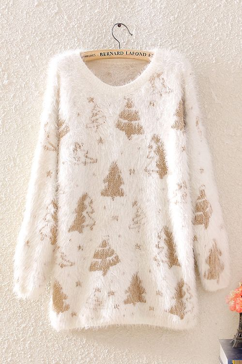 Golden Christmas Trees + http://www.6ks.com/golden-christmas-tree-print-soft-hair-loose-round-collar-sweaters_d4601.html