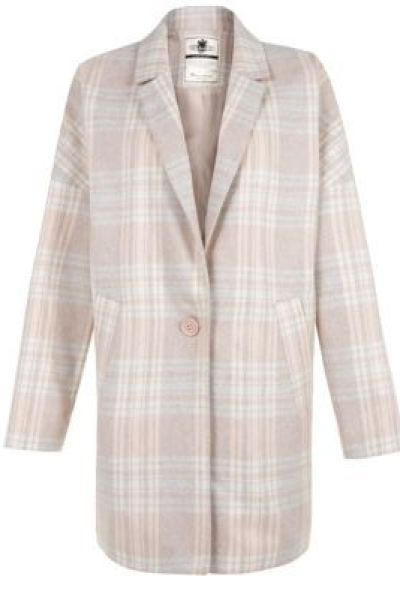 Shell Pink (Pink) Pale Pink Check Boyfriend Coat | 302178472 | New Look