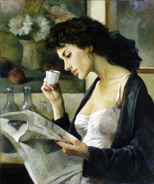 ✉ Biblio Beauties ✉ paintings of women reading letters and books - Café del Matino - Gianni Strino