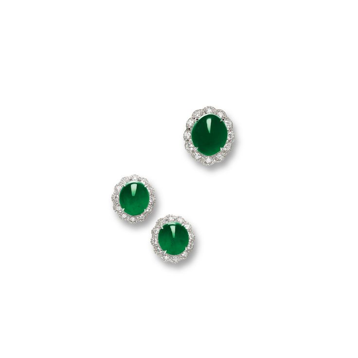 Jadeite and Diamond Ring and Pair of Matching Earrings | Lot | Sotheby's