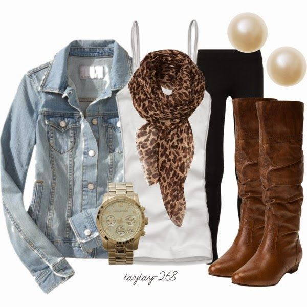 Black leggings, chambray shirt, leopard scarf, brown boots and gold watch with pearl earrings
